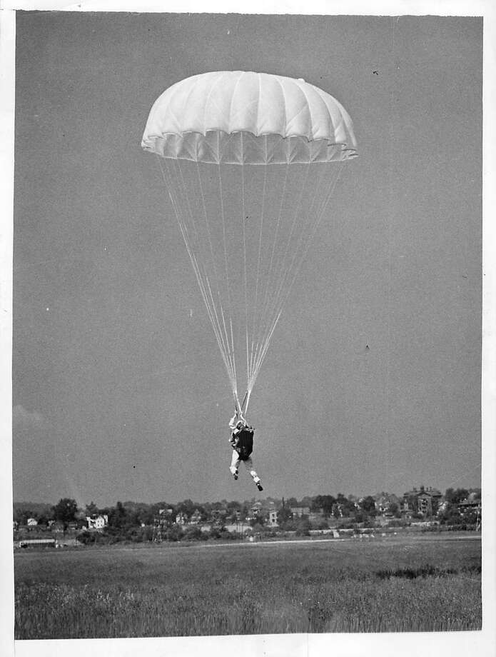Adeline Gray of Oxford made the first jump with a nylon parachute at Brainard Field in Hartford on June 6, 1942. The Pioneer Parachute Co. of Manchester made the nylon chute, which was used two years later in the D-Day invasion. Photo: Courtesy Of The Oxford Historical Society /