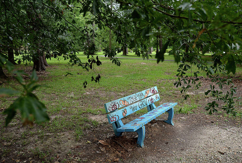 Colorful painted benches line the walking path and grassy areas among ther trees in Wuthering Heights Park. They are among the artistic murals that can be found in public spaces throughout Beaumont. Photo taken Tuesday, June 4, 2019 Kim Brent/The Enterprise Photo: Kim Brent/The Enterprise