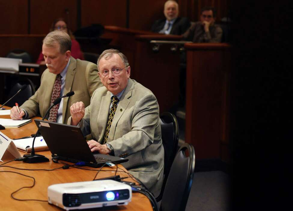 Deputy Secretary of the NYS Gaming Commission Robert Williams, left, and Equine Medical Director of the NYS Gaming Commission Scott Palmer deliver their testimonies during a public hearing on the welfare of racehorses in New York state on Wednesday, June 5, 2019 in Albany, NY. (Phoebe Sheehan/Times Union)