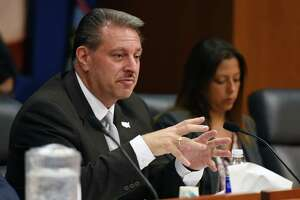 Senator Joseph P. Addabbo, Jr asks a questions for Deputy Secretary of the NYS Gaming Commission Robert Williams and Equine Medical Director of the NYS Gaming Commission Scott Palmer during a public hearing on the welfare of racehorses in New York state on Wednesday, June 5, 2019 in Albany, NY. (Phoebe Sheehan/Times Union)