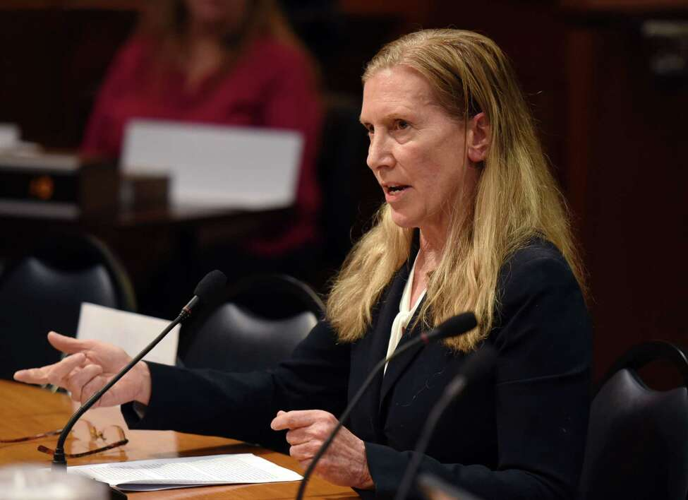 Founder of the American College of Veterinary Sports Medicine and Rehabilitation Homecoming Farm, Inc. Dr. Sheila Lyons gives her testimony during a public hearing on the welfare of racehorses in New York state on Wednesday, June 5, 2019 in Albany, NY. (Phoebe Sheehan/Times Union)