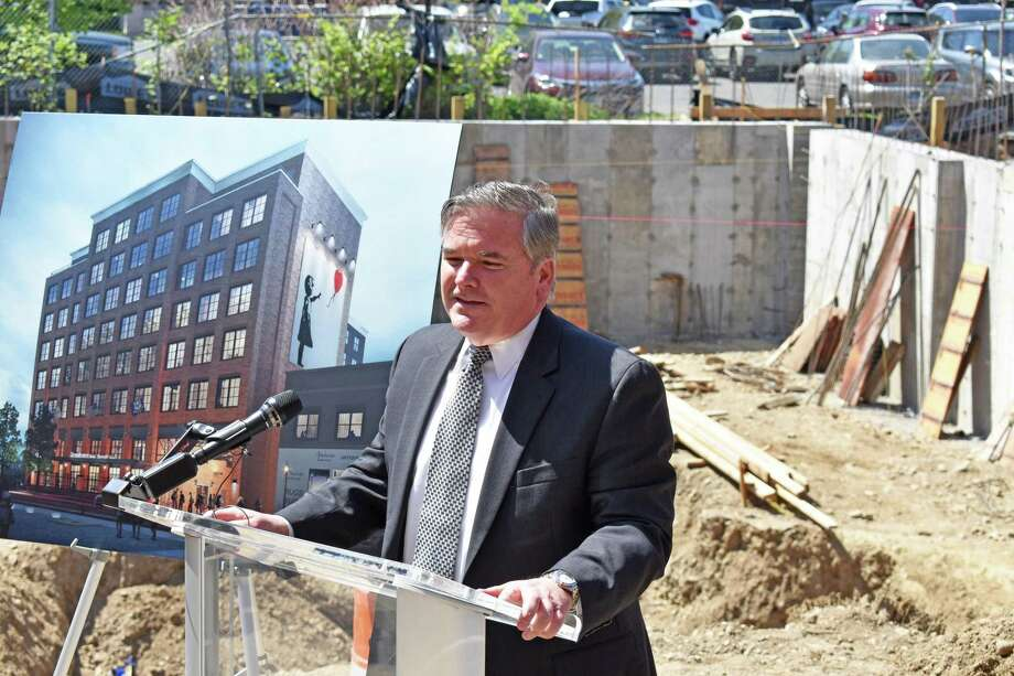 Tim Sheehan, executive director of the Norwalk Redevelopment Agency, on Thursday, May 4, 2017, at the site of the planned SoNo Residence Inn by Marriott in downtown South Norwalk, Conn. Sheehan submitted his resignation, effective June 30, 2019. Photo: Alexander Soule / Hearst Connecticut Media / Stamford Advocate
