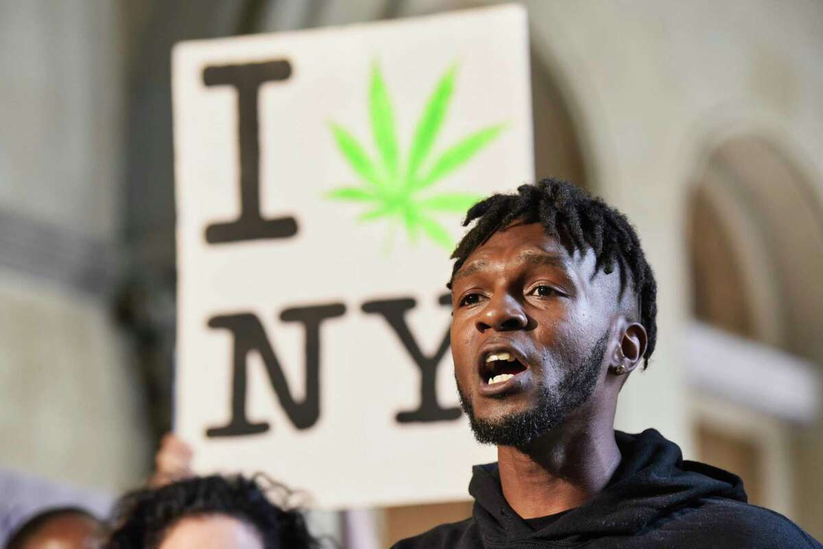 Jawanza Williams, director of organizing for Vocal New York, calls on the governor and legislators to pass marijuana reform this session during a press conference held by supporters of legalizing marijuana on Wednesday, June 5, 2019, in Albany, N.Y. (Paul Buckowski/Times Union)