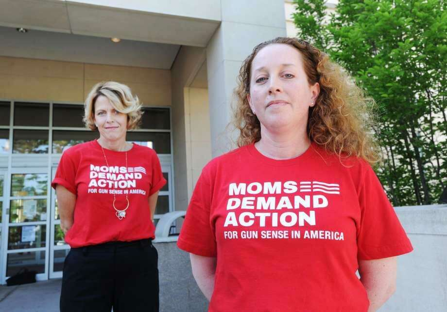 Greenwich residents, Michele Voigt, left, and Jen Barro, are members of the Greenwich chapter of Moms Demand Action, part of a national organization dedicated to lessening gun violence. Photo: / Bob Luckey Jr. / Hearst Connecticut Media