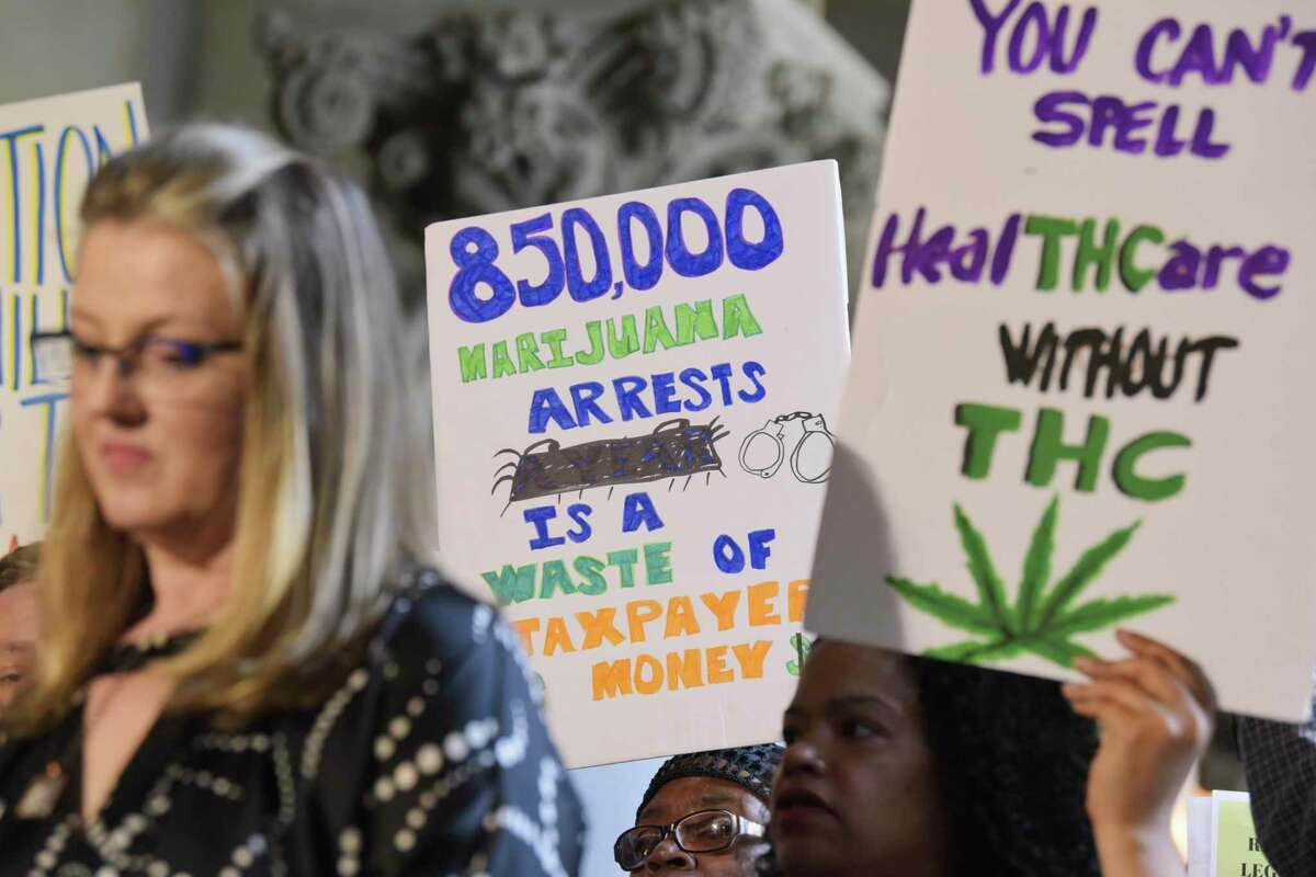 Supporters of legalizing marijuana hold a press conference to call on the governor and legislators to pass marijuana reform this session on Wednesday, June 5, 2019, in Albany, N.Y. (Paul Buckowski/Times Union)