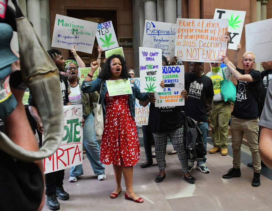 Supporters of legalizing marijuana hold a press conference to call on the governor and legislators to pass marijuana reform this session on Wednesday, June 5, 2019, in Albany, N.Y.    (Paul Buckowski/Times Union) Photo: Paul Buckowski, Albany Times Union / (Paul Buckowski/Times Union)