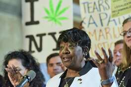 Majority Leader of the New York State Assembly, Crystal Peoples-Stokes, addresses those gathered for a press conference held by supporters of legalizing marijuana on Wednesday, June 5, 2019, in Albany, N.Y. (Paul Buckowski/Times Union)