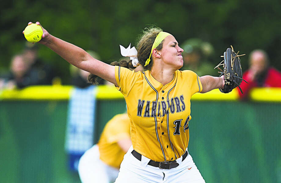 Bay City Western's Adaline Ziehmer delivers a pitch against Midland High during last Saturday's district semifinals at Dow High. Photo: Katykildee/kildee@mdn.net