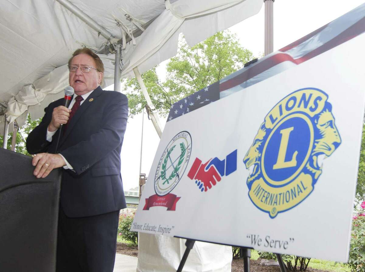 Montgomery County Judge Mark Keough speaks during a D-Day observance ceremony and dedication of the Montgomery County Veterans Memorial Monument, Wednesday, June 5, 2019, in Conroe.