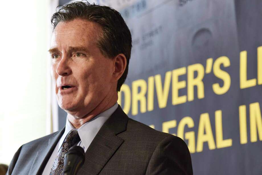Senate Republican Leader John Flanagan expresses his opposition to legislation that would provide illegal immigrants with New York driverÕs licenses during a press conference on Wednesday, June 5, 2019, in Albany, N.Y.    (Paul Buckowski/Times Union) Photo: Paul Buckowski, Albany Times Union / (Paul Buckowski/Times Union)