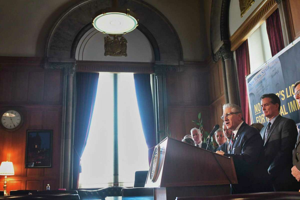 Senator Jim Tedisco, surrounded by his fellow Republicans, expresses his opposition to legislation that would provide illegal immigrants with New York driver's licenses during a press conference on Wednesday, June 5, 2019, in Albany, N.Y. (Paul Buckowski/Times Union)