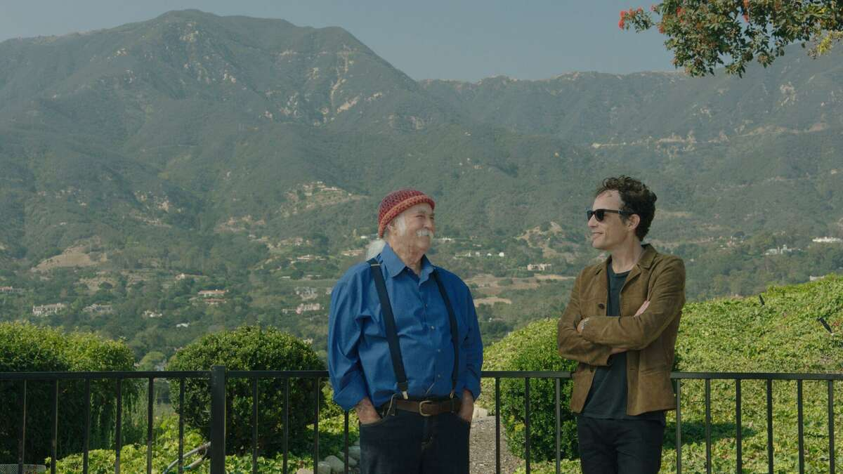 """David Crosby with Jakob Dylan in a scene from """"Echo in the Canyon"""""""