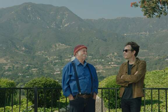 "David Crosby with Jakob Dylan in a scene from ""Echo in the Canyon"""
