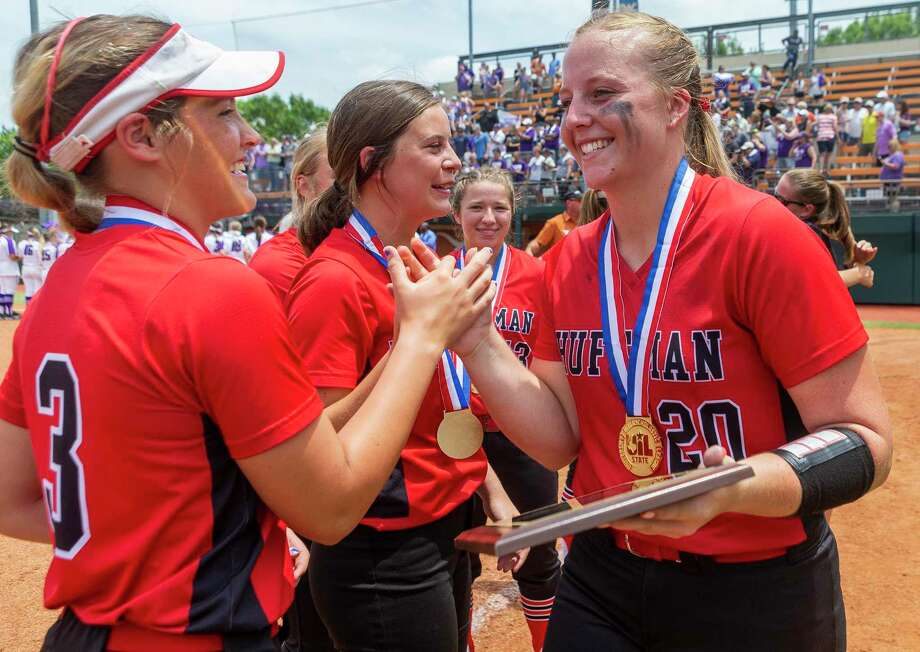 Huffman Hargrave pitcher Katy Janes (20) celebrates her MVP award with Tiegan Boyd (3) after a 12-0 win in six innings over Anna during the UIL Class 4A state softball championship in Austin, Saturday, June 1, 2019. (Stephen Spillman / for Houston Chronicle) Photo: Stephen Spillman / Stephen Spillman / stephenspillman@me.com