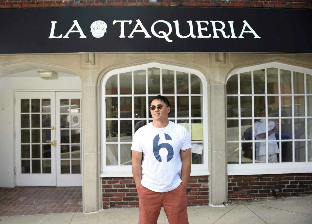 Owner Dennis Lake poses outside of La Taqueria at 10 Greenwich Ave. in Greenwich, Conn. Monday, June 3, 2019. The restaurant will feature a menu with many different tacos and other Mexican food, specialty margaritas and a variety of beers.
