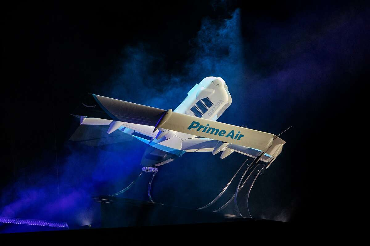Amazon.com Inc. Prime Air delivery drone is unveiled during a reveal event in Las Vegas, Nevada, U.S., on Wednesday, June 5, 2019. Amazon.com Inc.has unveiled a revolutionary newdrone-- part helicopter and part science-fiction aircraft -- that the company expects to use for test deliveries of toothpaste and other household goods starting within months. Photographer: Joe Buglewicz/Bloomberg