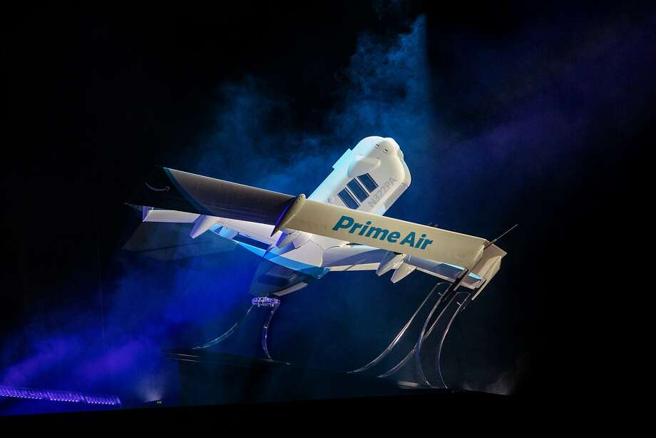 Amazon.com Inc. Prime Air delivery drone is unveiled during a reveal event in Las Vegas, Nevada, U.S., on Wednesday, June 5, 2019. Amazon.com Inc. has unveiled a revolutionary new drone -- part helicopter and part science-fiction aircraft -- that the company expects to use for test deliveries of toothpaste and other household goods starting within months. Photographer: Joe Buglewicz/Bloomberg Photo: Joe Buglewicz, Bloomberg
