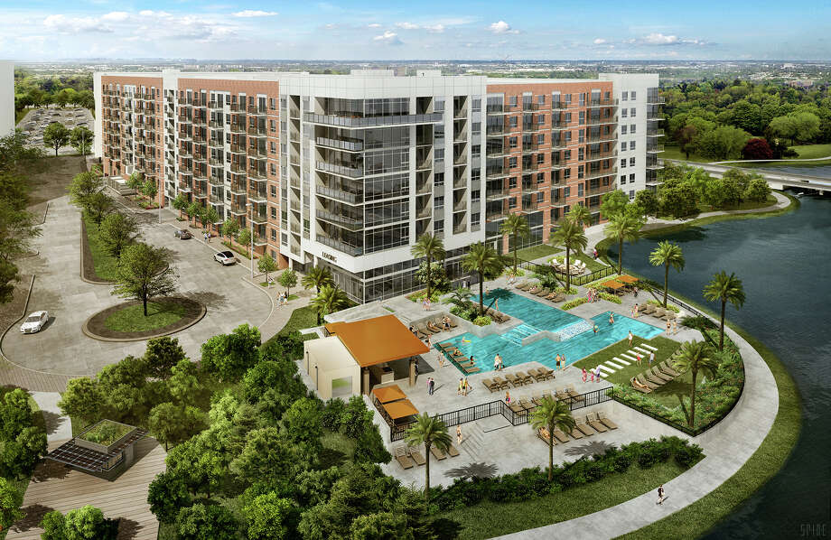 Two Lakes Edge, an eight-story apartment development on Lake Woodlands, consists of 386 units with an average size of 997 square feet. Plans included studio micro-units and one, two and three-bedroom apartments. Photo: The Howard Hughes Corp.