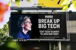 An Elizabeth Warren presidential campaign billboard hangs in the SOMA District of San Francisco, May 31, 2019. The Democratic senator from Massachusetts has been an outspoken critic of the tech industry. She put up a billboard to drive her point home to local tech workers. (Justin Kaneps/The New York Times)