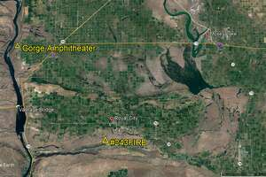 The Gorge Amphitheater, shown on a map to be about 20 miles from the fire, which is travelling east. The Grant County Sheriff's Office tweeted that Gorge visitors this weekend shouldn't be concerned.