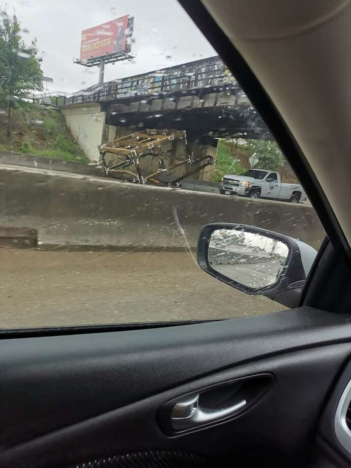 HPD reports the object struck the bridge, causing debris to block a couple of lanes of traffic of eastbound I-10 near Wayside on June 5, 2019. Photo: Maurice Lopez