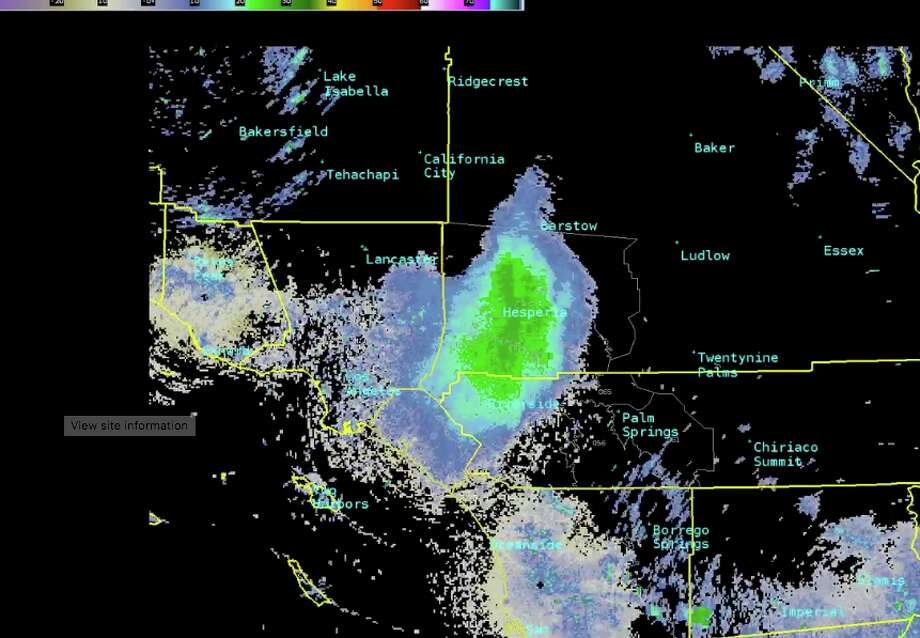 "A massive cloud of ladybugs known as a ""bloom"" was over the San Gabriel Mountains of California and appeared on weather radar. Forecasters at the National Weather Service office in San Diego posted a gif. Photo: National Weather Service"