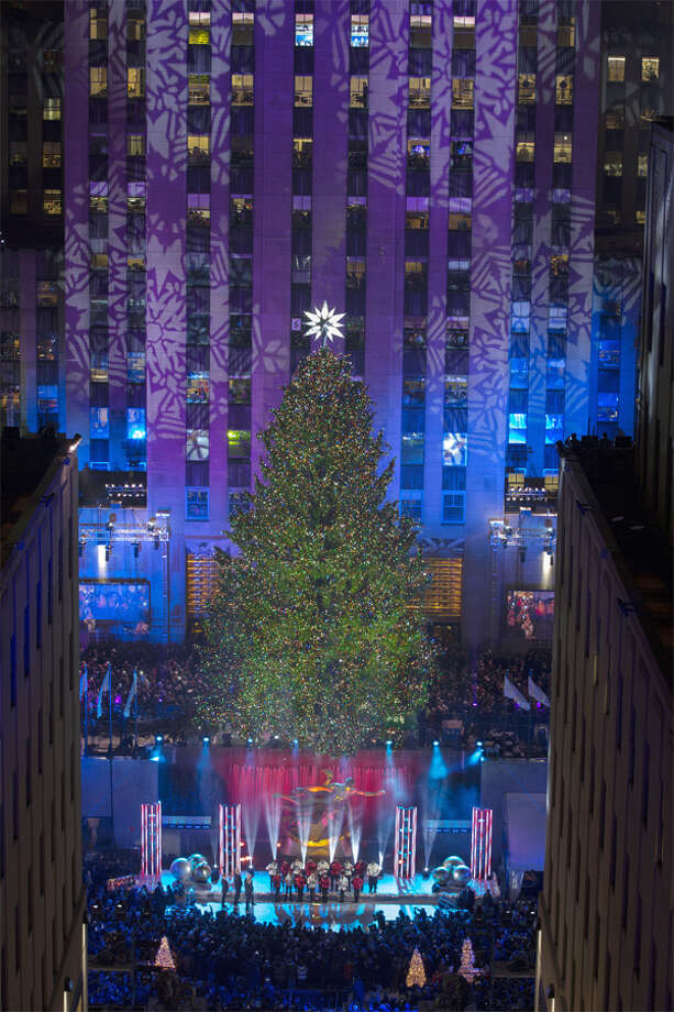 The 2013 Rockefeller Center Christmas tree from Shelton in its holiday best during the national TV broadcast show in which it was lit. (Photo by Greg Scaffidi/Ccourtesy of Tishman Speyer)