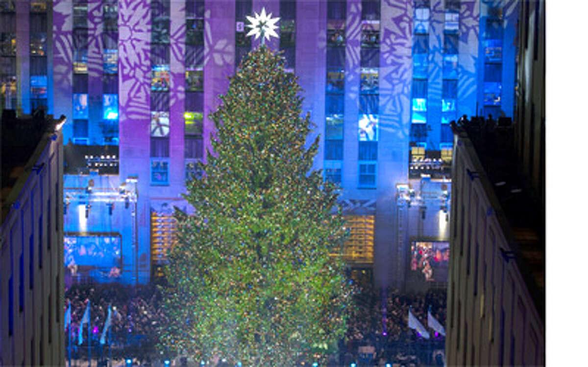 The 2013 Rockefeller Center Christmas tree from Shelton on display in Manhattan.