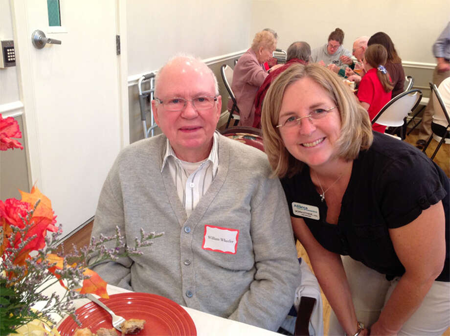 Former Bishop Wicke rehab patient William Wheeler with Rehabilitation Services Director Moira Ethier.