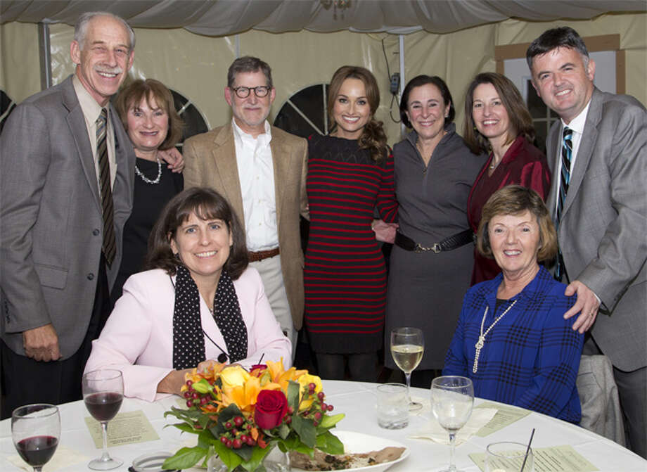 "Among the hospital officials and guests on hand for ""An Evening with Giada"" were, from left, standing, Dr. Robert Folman, co-medical director of the Norma F. Pfriem Cancer Institute, and his wife, Toby; Dr. Richard Freedman, neonatologist; celebrity chef Giada De Laurentiis; Dr. Freedman's wife, Nancy; MaryEllen Kosturko, senior vice president of patient care operations; and Marc Brunetti, vice president of administration. Seated are Lyn Salsgiver, senior vice president of planning and marketing; and Brunetti's mother, Anne."