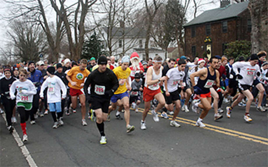 Runners at the starting line of the annual Jingle Bell Run in Shelton.