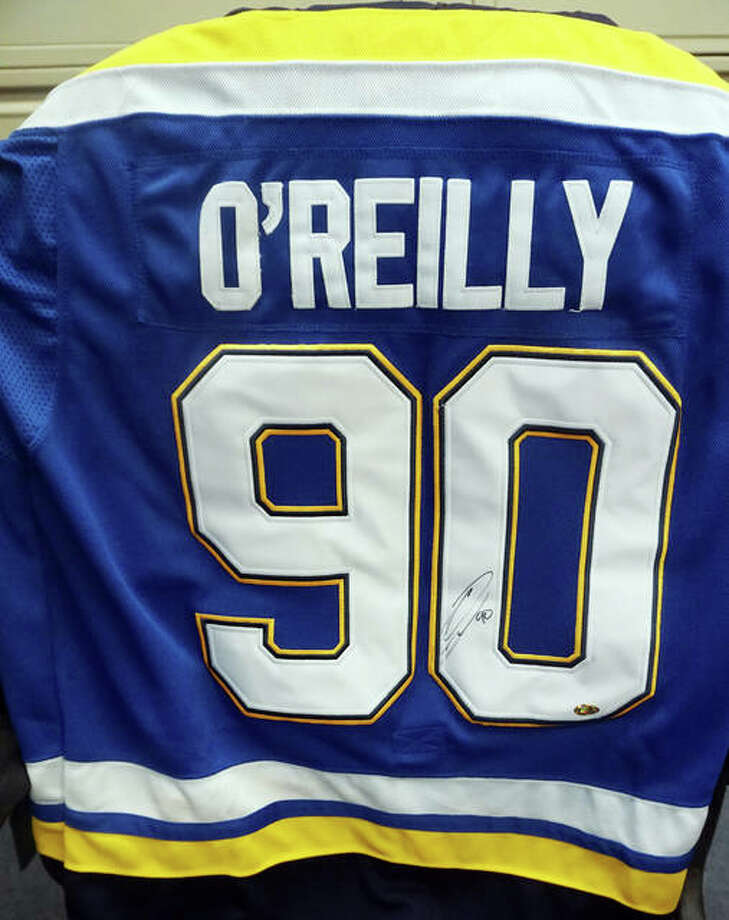 A Blues hockey jersey signed by Ryan O'Reilly will be awarded in a June 14 raffle by Alton Memorial Hospital to benefit the American Cancer Society.