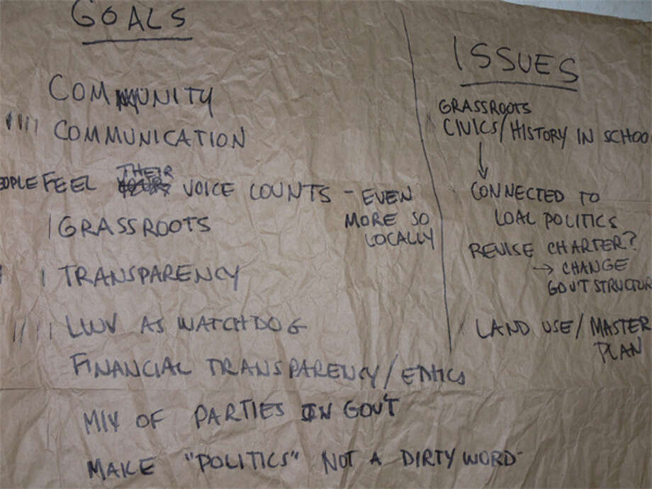 "At the organizational meeting for the Shelton League of Women Voters, the group's possible ""goals,"" ""issues"" and ""activities"" were written down on paper hung on a wall."