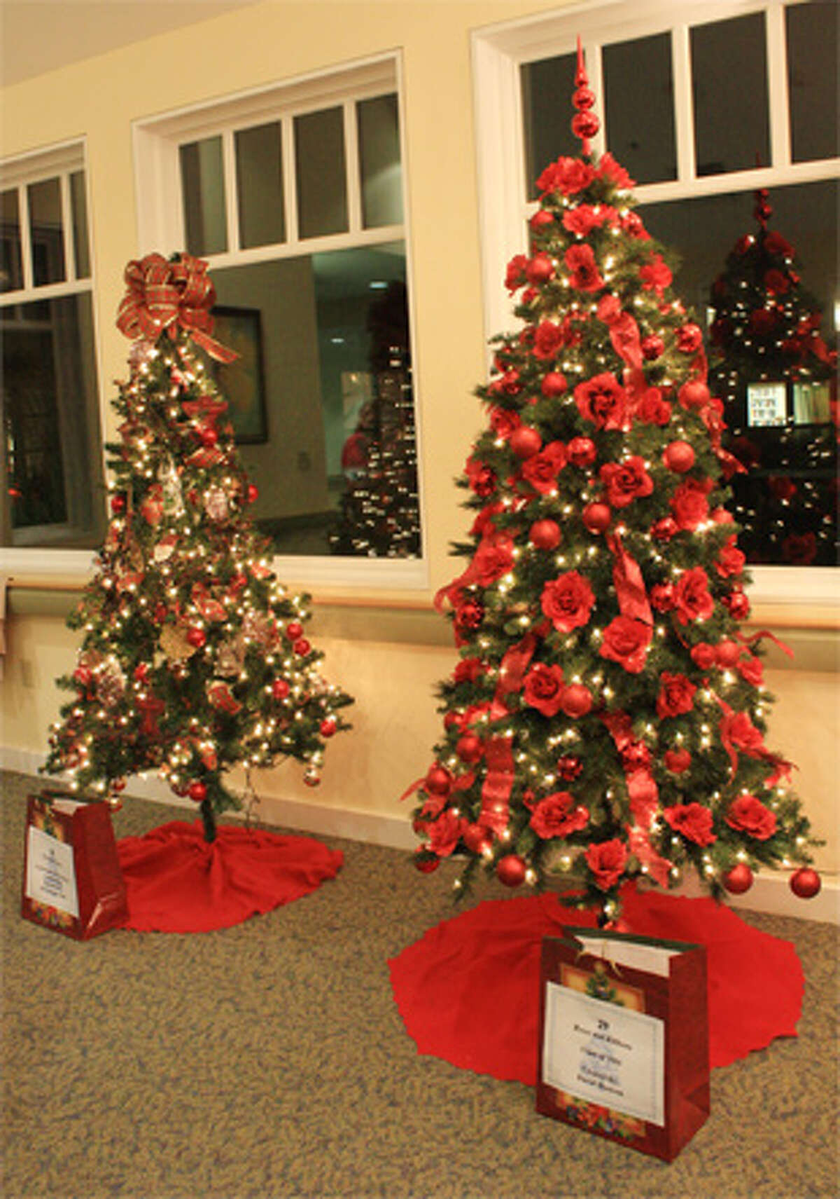 Decorated holiday trees from a past Festival of Trees at Wesley Village in Shelton.