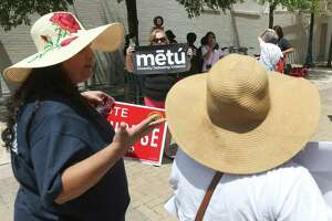 Greg Brockhouse supporters, foreground, and members of Metu: Diversity Defeating Violence, confront each other June 5, 2019, after a news conference where Metu announced it is asking the Texas Rangers' Public Corruption Unit to investigate the disappearance of a police report regarding an alleged domestic violence assault by mayoral candidate Greg Brockhouse.