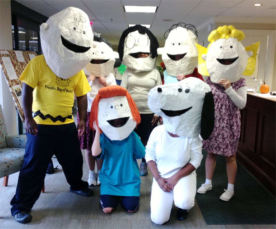 A team of Bishop Wicke nursing staff dresses in handmade costumes as Charlie Brown characters for the Halloween parade.