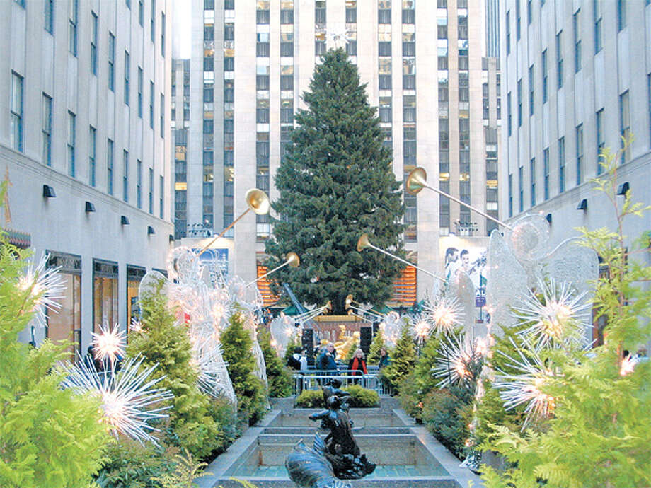 The Norway spruce from the Rivnyak property in Shelton is set up at Rockefeller Center in 2007.