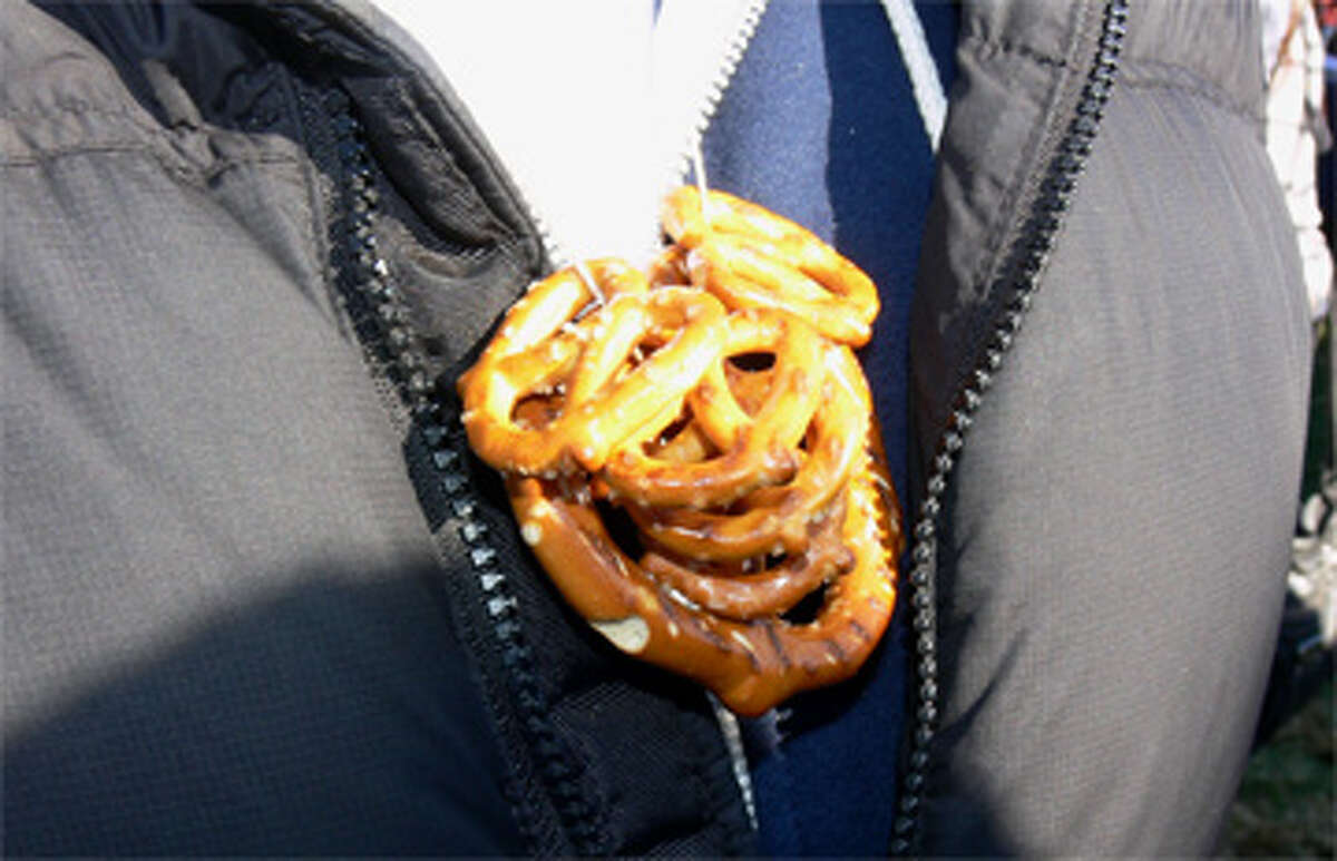 The Boy Scouts sold pretzel necklaces to festival guests, designed to go well with the beer.
