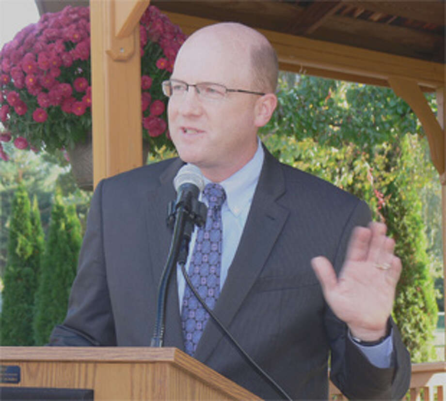 David M. Lawlor, president and CEO of United Methodist Homes, speaks at the event to celebrate renovations made to the Bishop Wicke Center in Shelton.