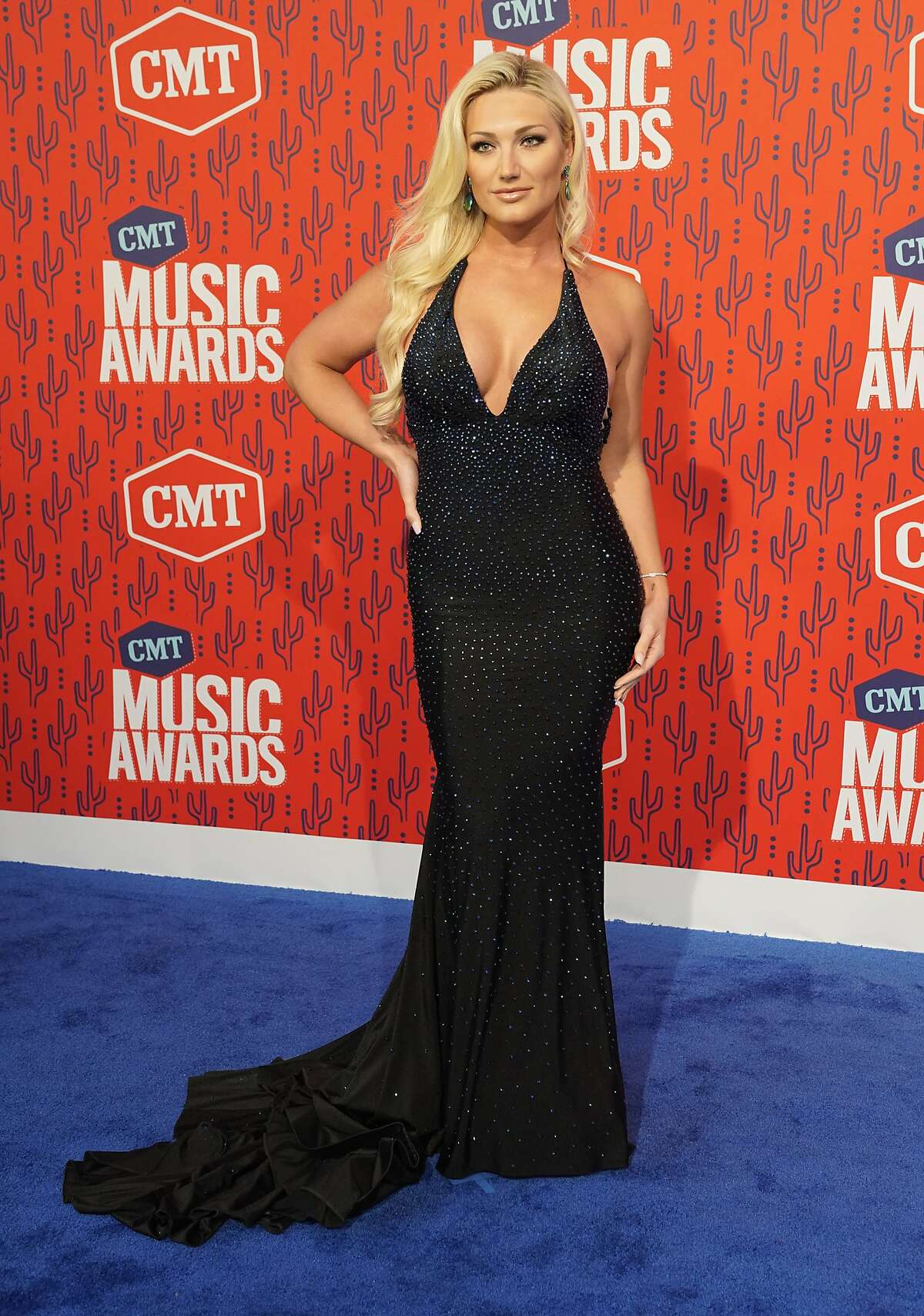 Brooke Hogan arrives at the CMT Music Awards on Wednesday, June 5, 2019, at the Bridgestone Arena in Nashville, Tenn. (AP Photo/Sanford Myers)