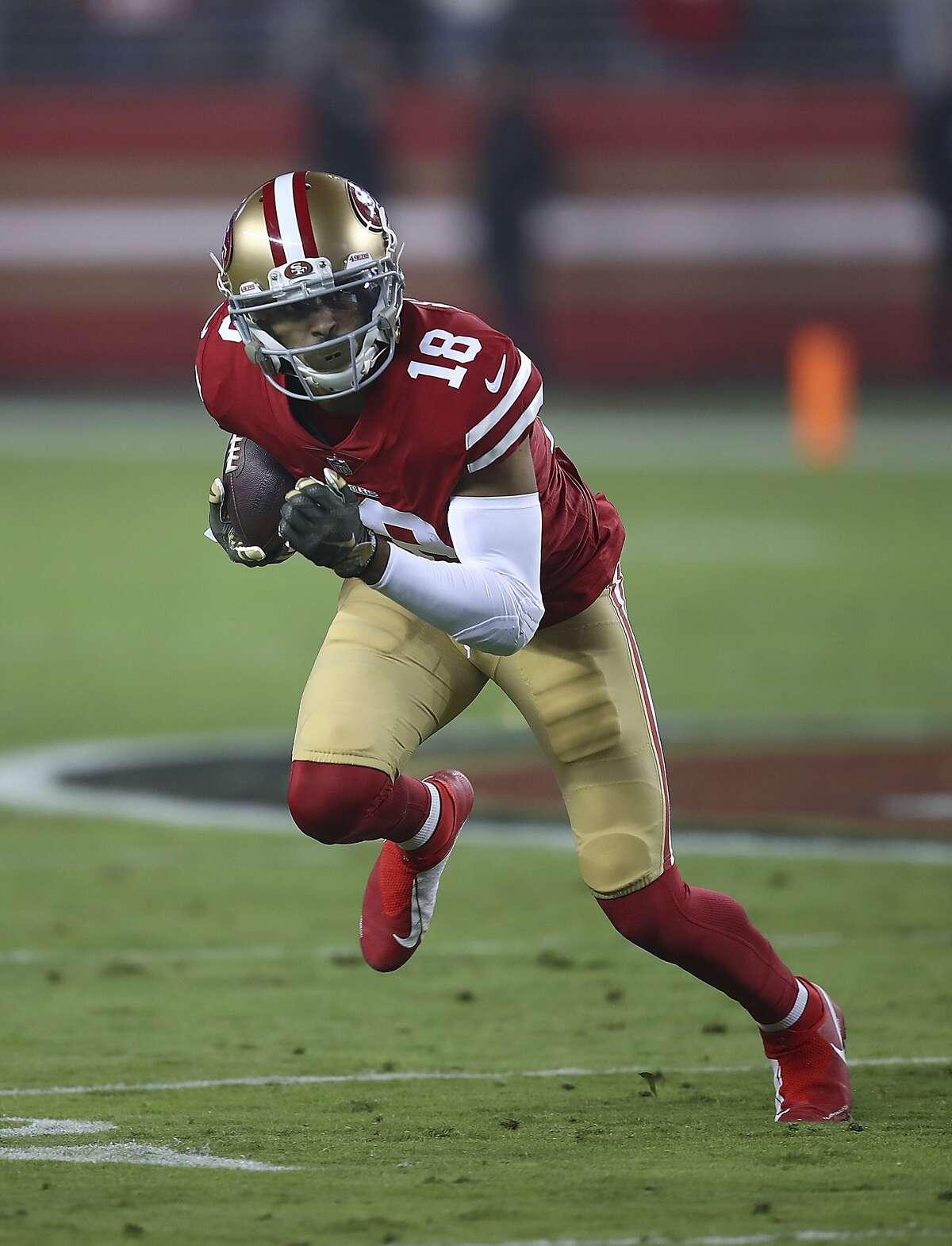 San Francisco 49ers wide receiver Dante Pettis (18) against the New York Giants during an NFL football game in Santa Clara, Calif., Monday, Nov. 12, 2018. (AP Photo/Ben Margot)
