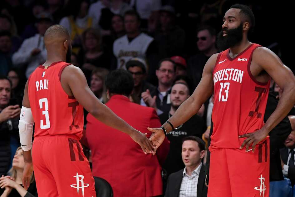 LOS ANGELES, CALIFORNIA - FEBRUARY 21: James Harden #13 of the Houston Rockets and Chris Paul #3 react as they both foul out during a 111-106 Los Angeles Lakers win at Staples Center on February 21, 2019 in Los Angeles, California. (Photo by Harry How/Getty Images)