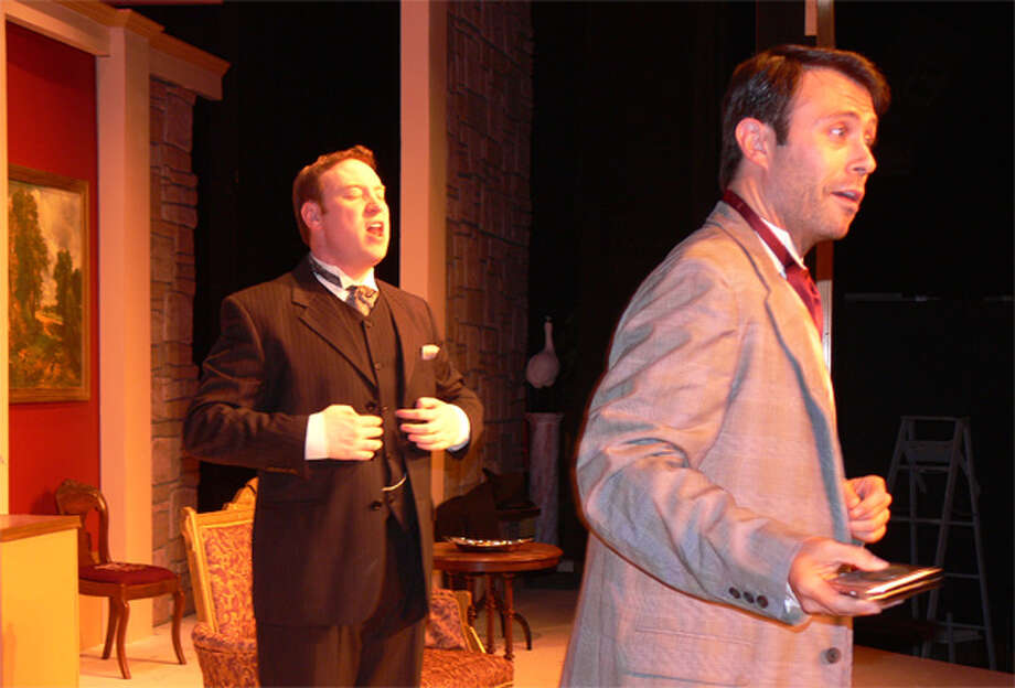 """Marc Improta, right (in gray jacket), and Brett Boles perform in """"The Importance of Being Earnest"""" at Center Stage Theatre. Improta grew up in Shelton and now lives in New York City, and Boles is from Newtown."""