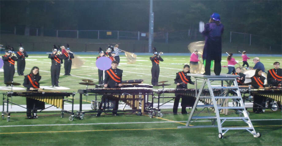 The Shelton High School marching band and colorguard at a previous event.