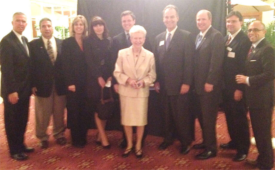 At the state Republican Party award ceremony, from left, are Tom Welch, Shelton Republican Town Committee Chairman Anthony Simonetti, Noreen McGorty, Alex Debicella, former state Sen. and award recipient Dan Debicella, former state Motor Vehicles Commissioner Gary DeFilippo, state Sen. Kevin Kelly, Chris Silhavey, and state Rep. Jason Perillo.