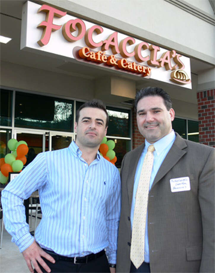 Focaccia's Café co-owners Michelangelo Guerrera and Ben Mujollari in front of the new Shelton establishment.