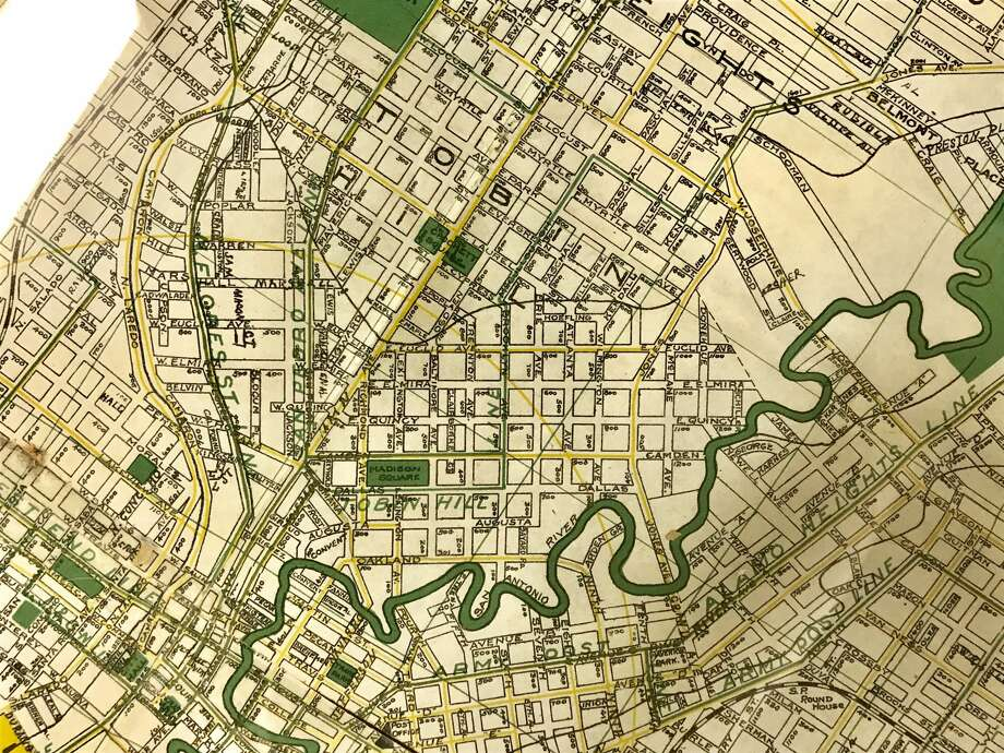 A map of San Antonio from around 1917 shows Euclid Avenue before it extended to its current end at West Josephine Street. Photo: San Antonio Conservation Society