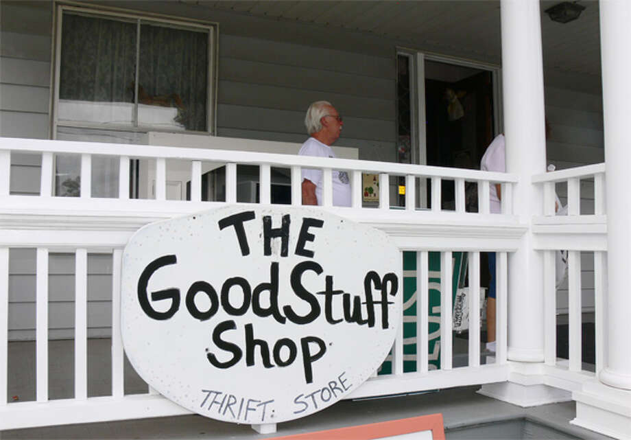 The front porch and entrance to the Good Stuff Shop, located in a former Shelton church rectory on Coram Avenue.