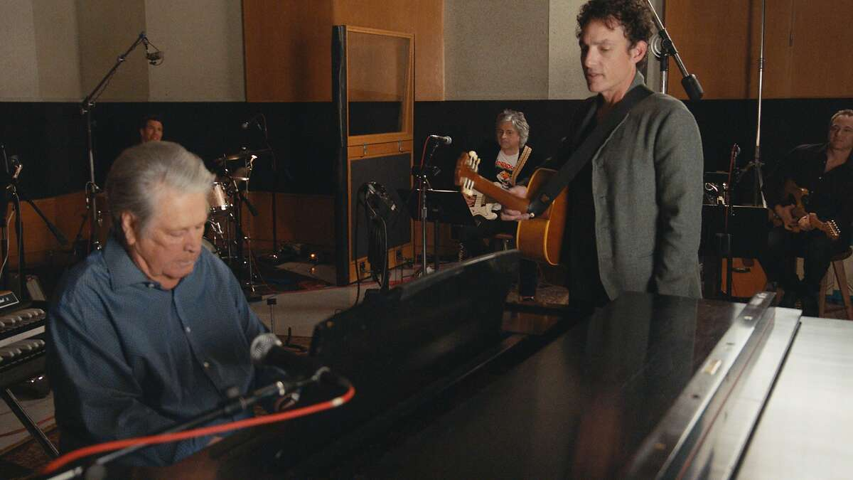 """Brian Wilson with Jakob Dylan in the recording studio during filming of """"Echo in the Canyon"""""""