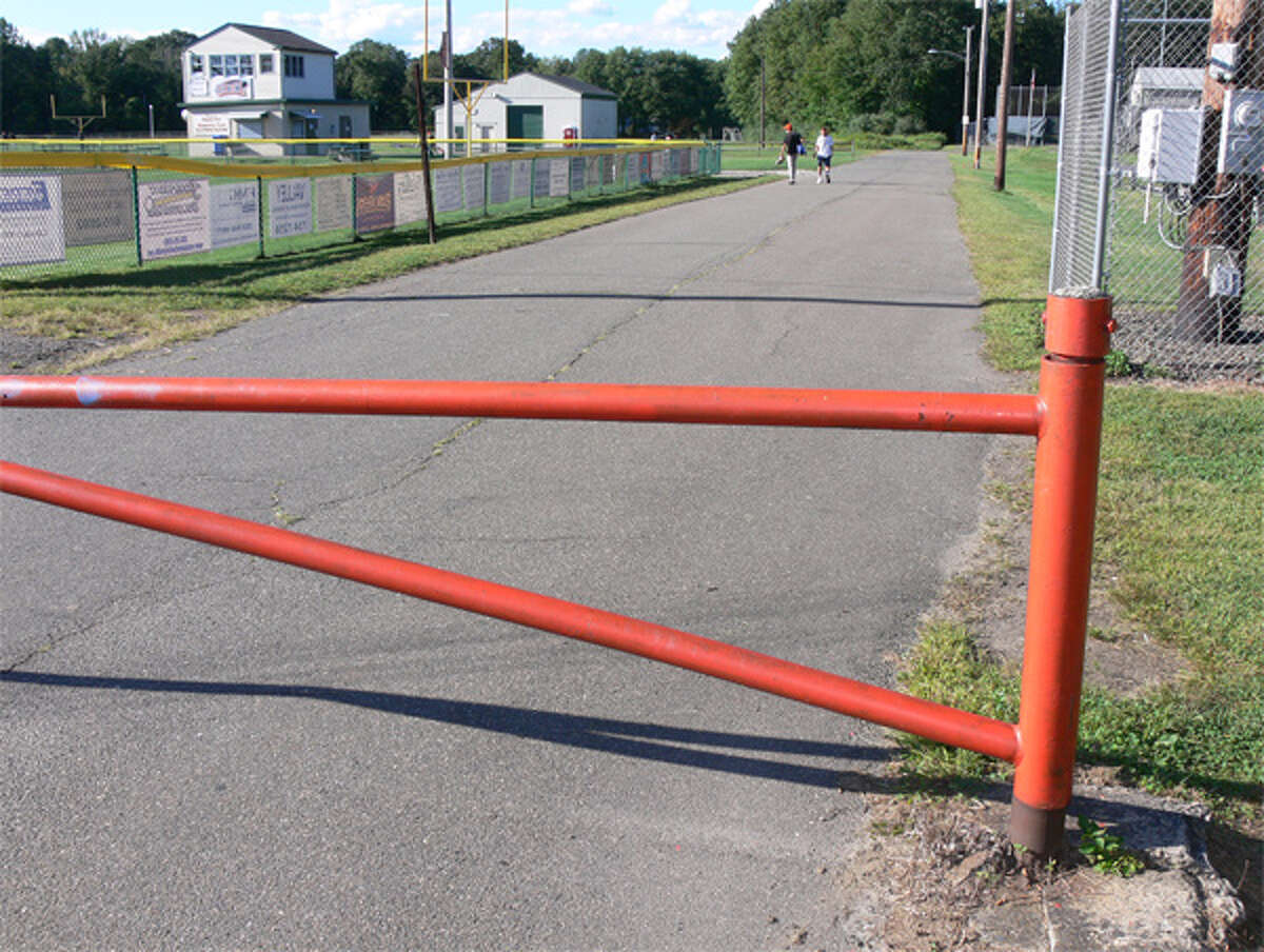 This existing gate prevents non-permitted vehicle access to the playing fields area at the Nike site in Shelton.